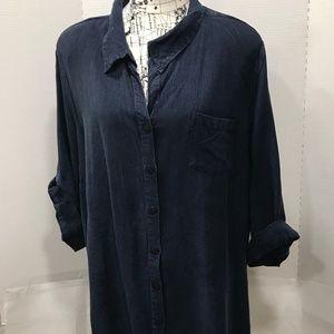 ADDED DIMENSIONS Dark Wash Denim Shirt